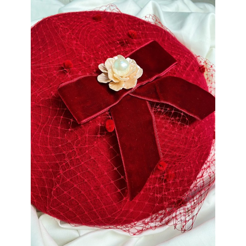 Gabrielle Beret Cherry Red