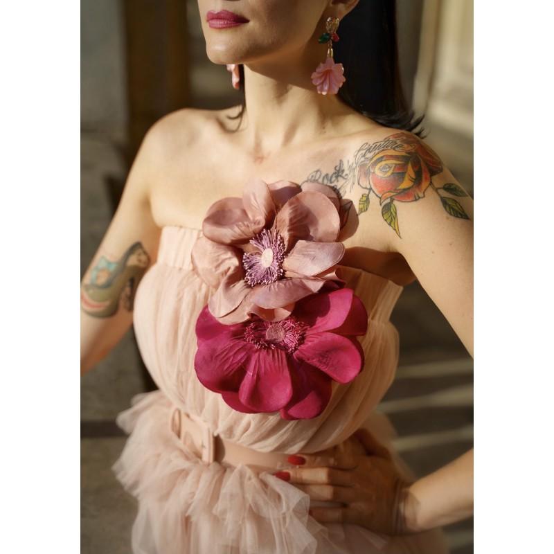 Broche ANEMONE Vieux Rose
